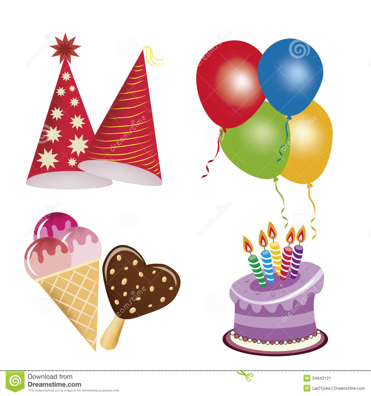 happy birthday icons ; icons-happy-birthday-four-related-to-some-colors-34943121
