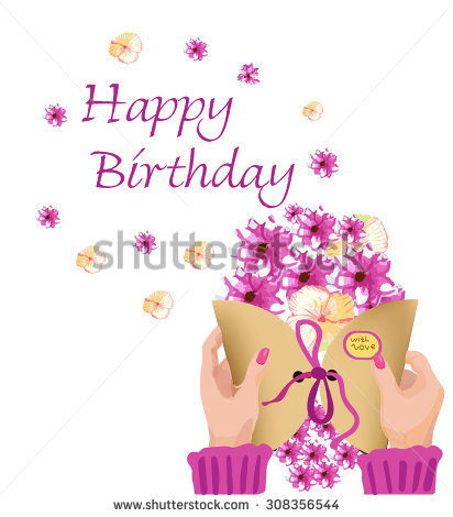 happy birthday images for women ; stock-vector-greeting-card-happy-birthday-with-women-s-hands-envelope-and-flowers-308356544