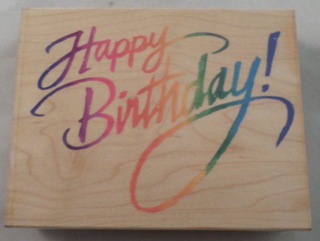 happy birthday in cursive ; dw12729-stampendous-xl-happy-birthday-cursive-writing-quote-wood-mount-rubber-stamp
