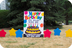 happy birthday lawn signs ; birthday_cake1