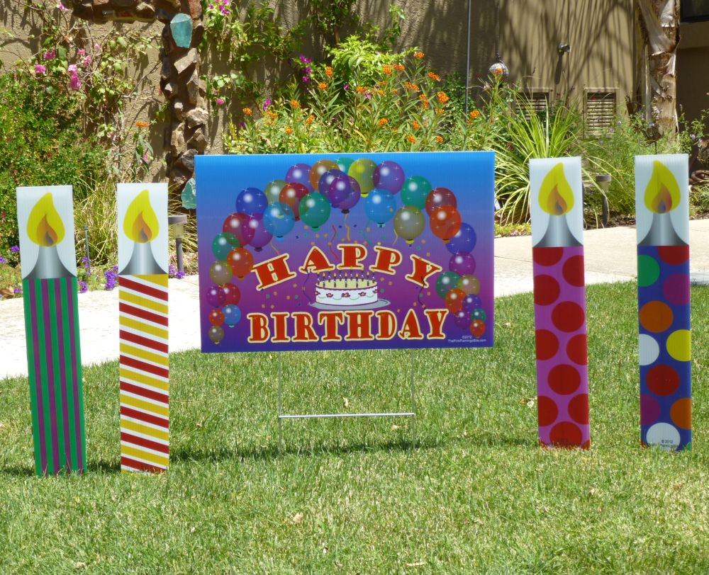 happy birthday lawn signs ; candles-and-sign-004