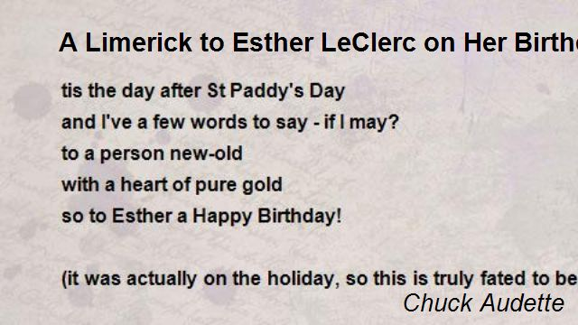 happy birthday limerick ; a-limerick-to-esther-leclerc-on-her-birthday