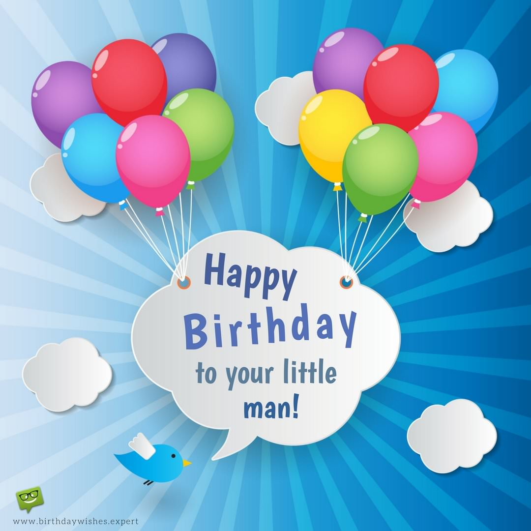 happy birthday little boy ; Birthday-wish-for-a-little-boy-on-image-of-a-balloons-and-sketchy-clouds