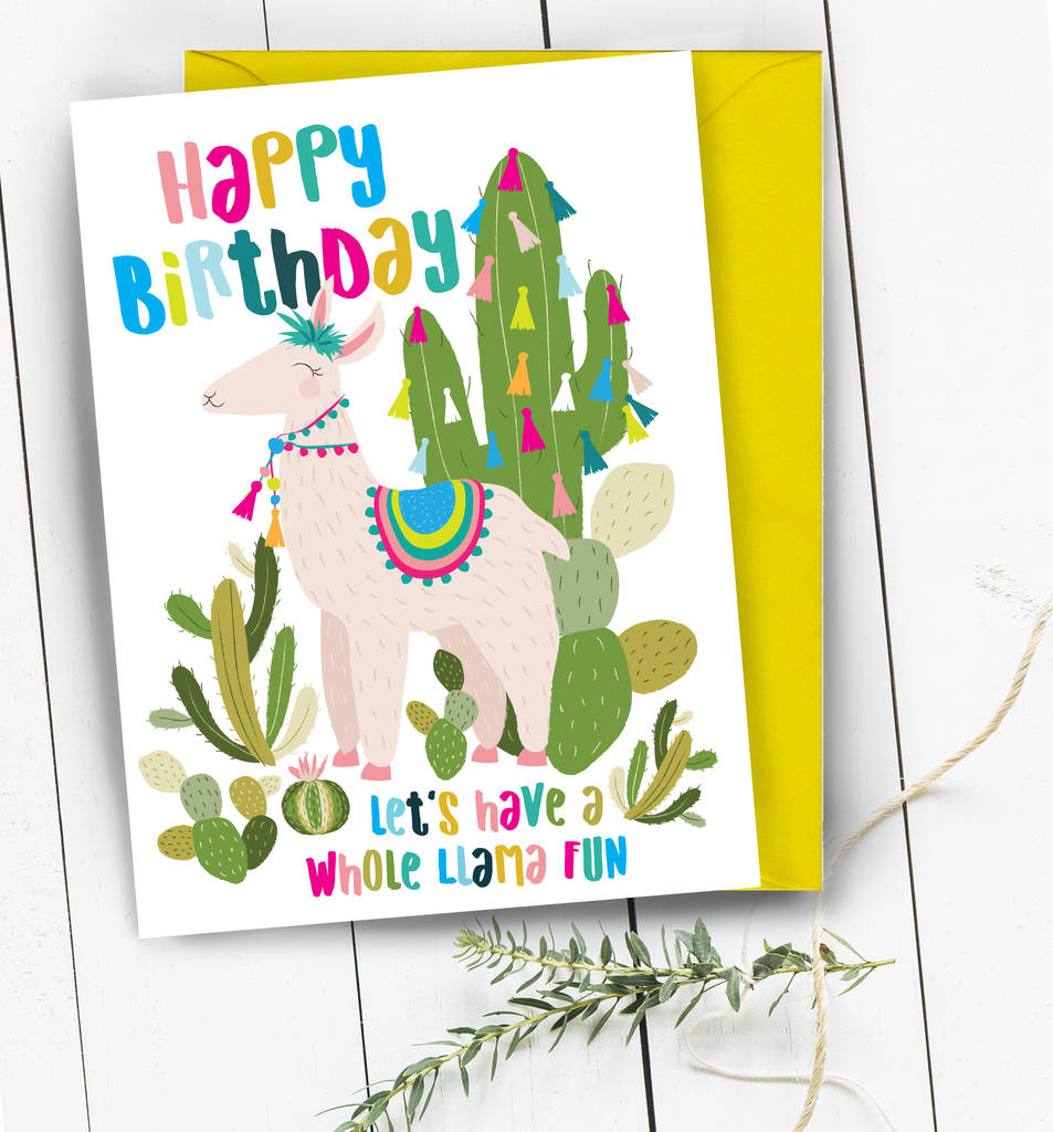 happy birthday llama ; original_happy-birthday-llama-cactus-greeting-card