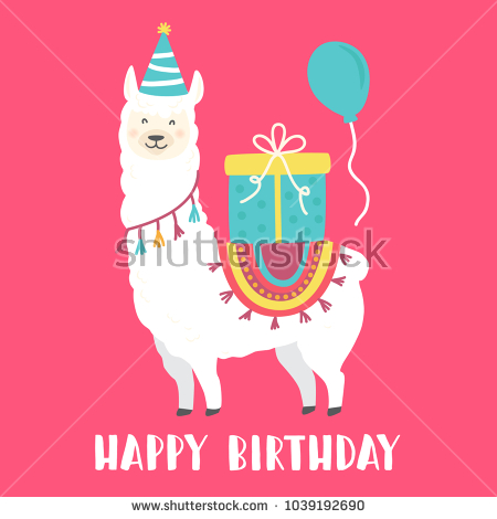 happy birthday llama ; stock-vector-happy-birthday-card-with-cute-cartoon-llama-design-1039192690