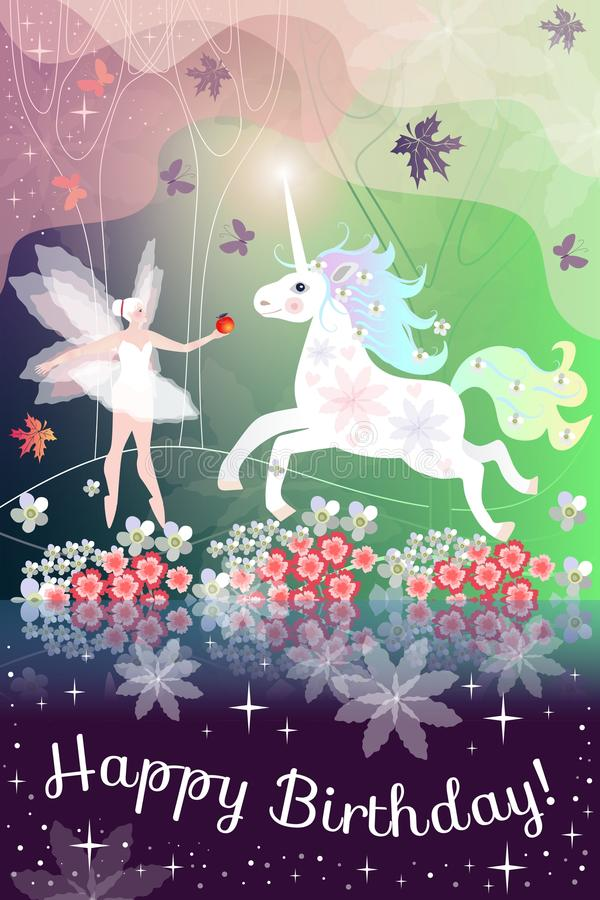 happy birthday magic image ; happy-birthday-beautiful-greeting-card-fairy-girl-unicorn-magic-forest-92989848
