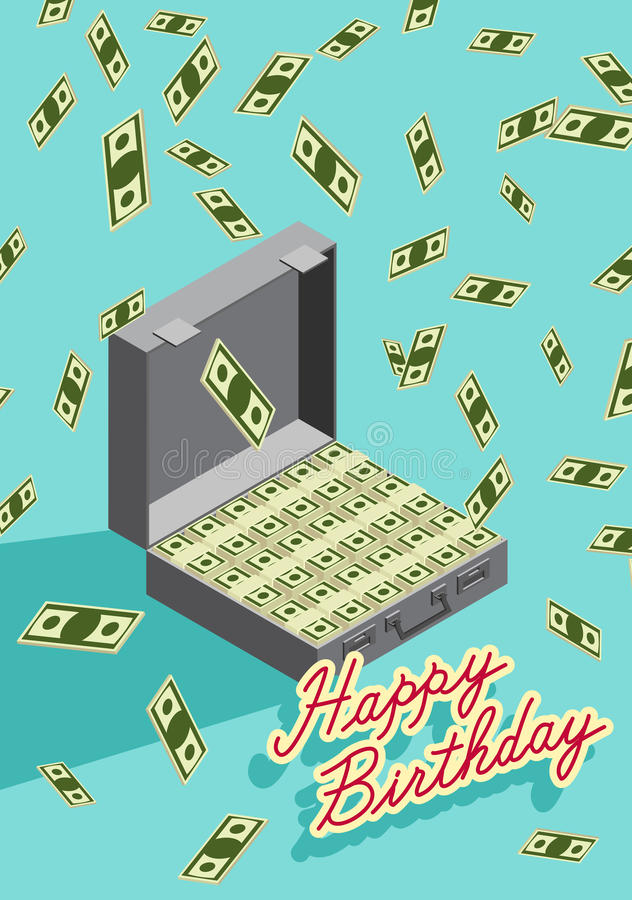 happy birthday money ; happy-birthday-falling-money-case-money-wealth-congratula-congratulations-greeting-card-illustration-50661517