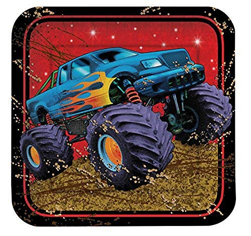 happy birthday monster truck ; creativeconverting-mudslinger-monster-truck-happy-birthday-party-supplies-for-8-6-piece-bundledisposable-plates-napkins-cups-tablecloth_69194_500