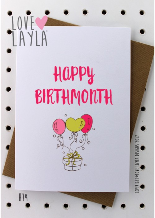 happy birthday month card ; H14-500x700
