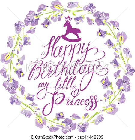 happy birthday my little princess ; holiday-greeting-card-for-girls-with-eps-vectors_csp44442833