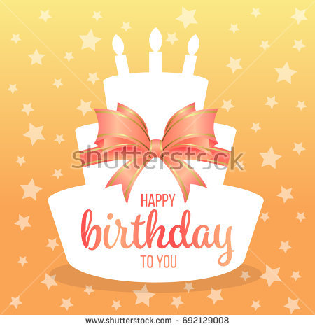 happy birthday orange ; stock-vector-happy-birthday-to-you-with-text-on-white-paper-cake-shape-and-sweet-orange-bow-and-star-background-692129008