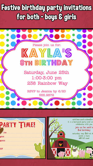 happy birthday party invitation ; 300x0w
