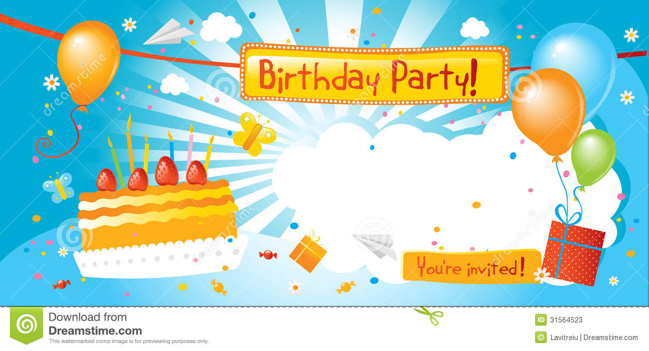 happy birthday party invitation ; birthday-party-invitation-kids-blank-sign-31564523