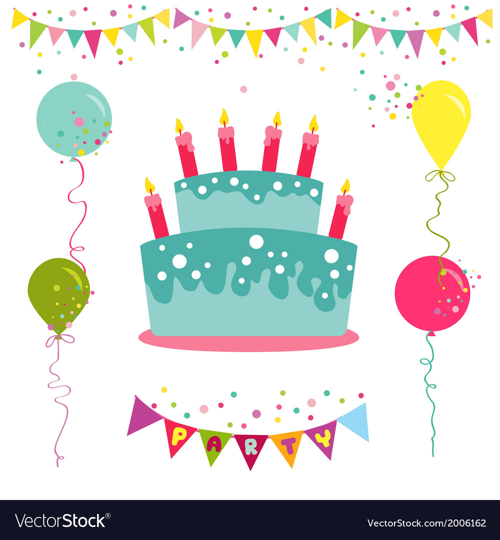 happy birthday party invitation ; happy-birthday-and-party-invitation-card-vector-2006162