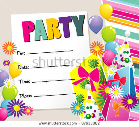 happy birthday party invitation ; stock-vector-happy-birthday-party-invitation-87633082