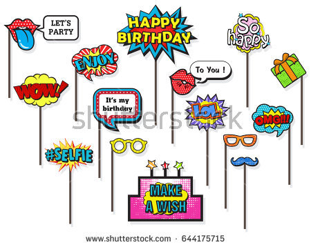 happy birthday photo booth background ; stock-vector-props-for-photos-booth-on-happy-birthday-party-featuring-cute-and-funny-costume-doodle-comic-644175715