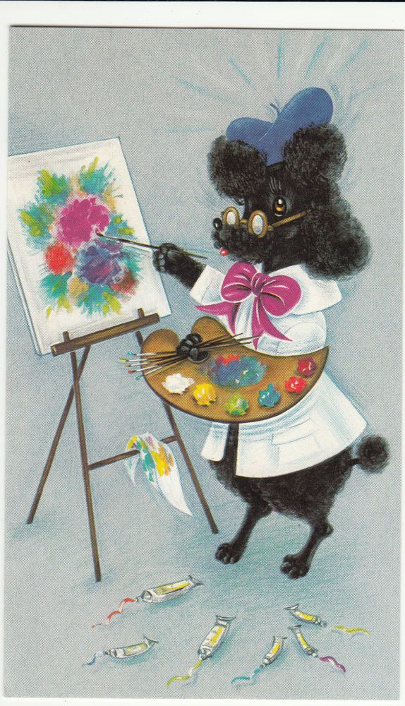 happy birthday poodle greeting cards ; 966b7ba1fe98814532d7856155bc8a31