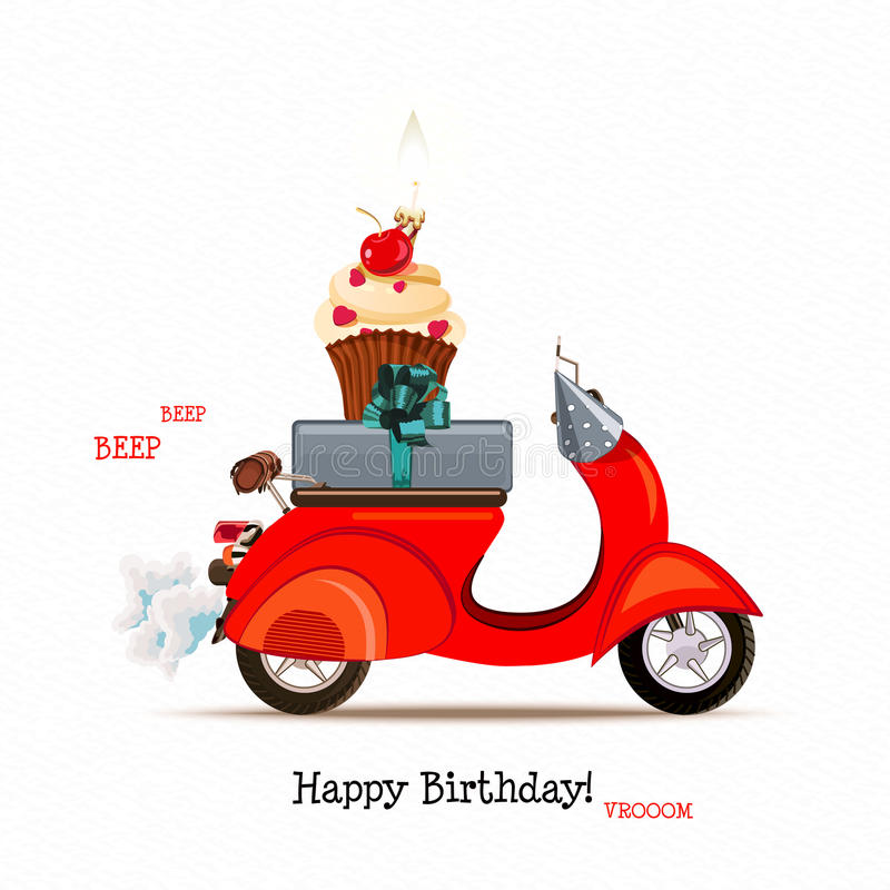 happy birthday scooter ; happy-birthday-card-scooter-red-balloons-cartoon-style-vector-illustration-retro-greeting-birthdays-other-holidays-44221239