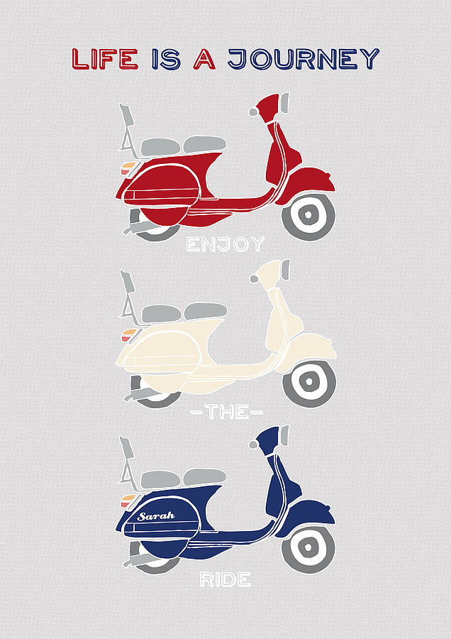 happy birthday scooter ; original_life-is-a-journey-personalised-scooter-print
