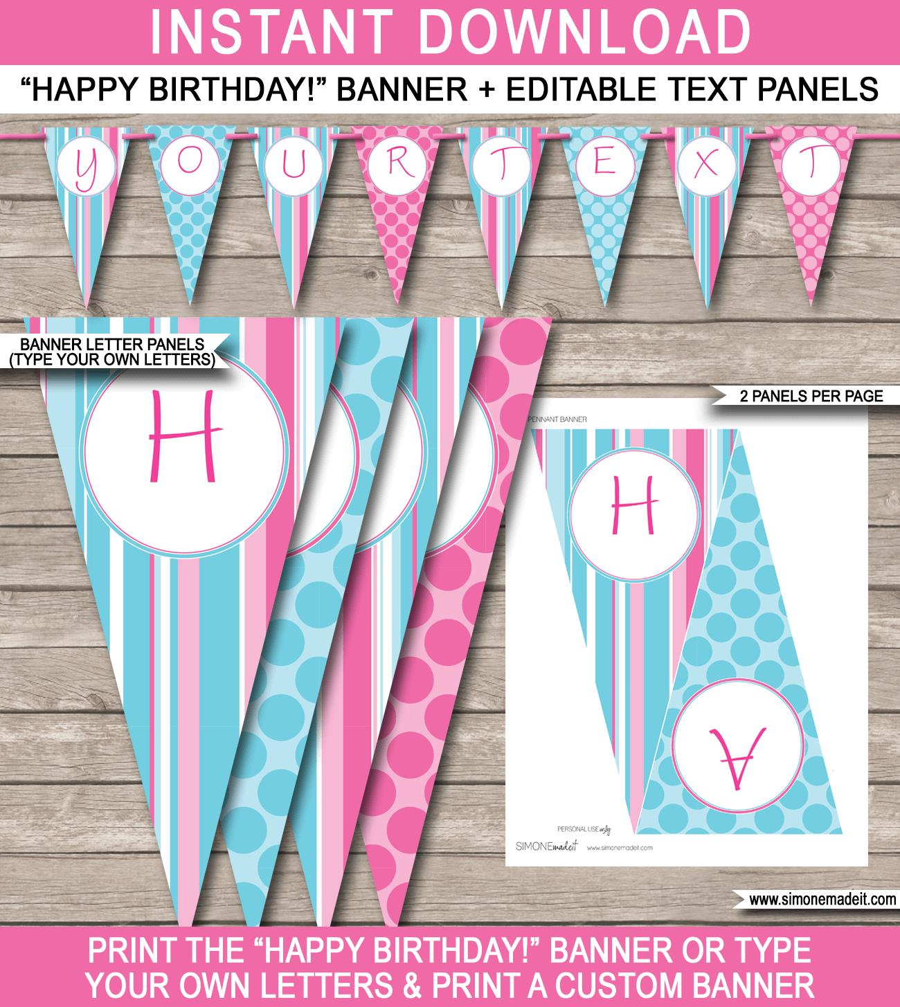 happy birthday signs for girls ; Spa-Pink-Aqua-Happy-Birthday-Pennant-Banner-Template-editable-bunting