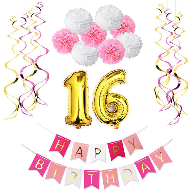 happy birthday signs for girls ; Sweet-Girl-16th-Birthday-Party-Decoration-Kit-Happy-Birthday-Banner-10pcs-Foil-Whirls-8pcs-Paper-Pom