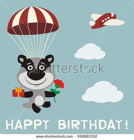 happy birthday skydiving ; stock-vector-happy-birthday-funny-badger-fly-on-parachute-with-gift-and-flower-in-cartoon-style-558863332