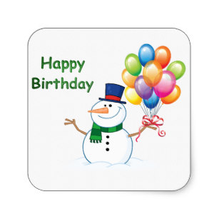 happy birthday snowman ; winter_birthday_snowman_square_sticker-r7642da01919649b2abcade7edc37218b_v9wf3_8byvr_307
