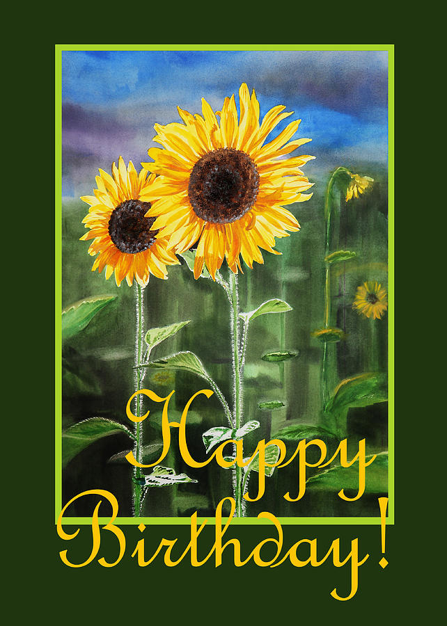happy birthday sunflowers ; happy-birthday-happy-sunflowers-couple-irina-sztukowski