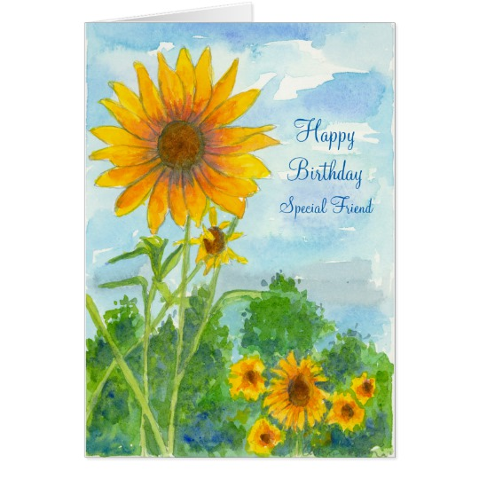happy birthday sunflowers ; happy_birthday_special_friend_sunflower_watercolor_card-r98caf60b8fb84979bf0d2b78e076a5f1_xvuat_8byvr_540