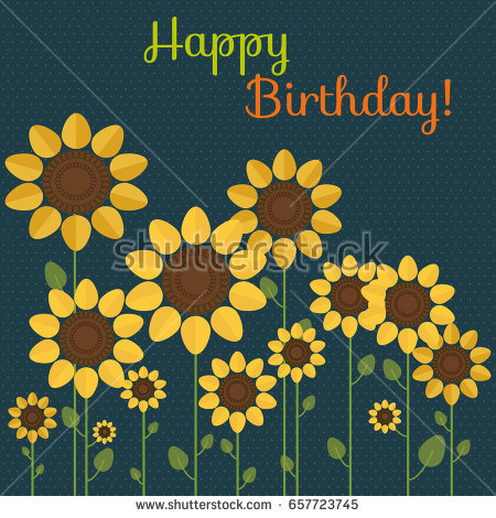 happy birthday sunflowers ; stock-vector-abstract-happy-birthday-card-with-sunflowers-657723745