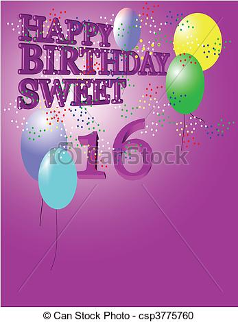happy birthday sweet 16 greeting ; sweet-16-greeting-vector-clipart_csp3775760