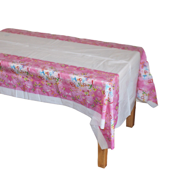 happy birthday tablecloth ; Disposable-Plastic-Table-Cloth-Happy-Birthday-TableCover-Tablecloth-Butterfly-Pink-Waterproof-For-Kids-Birthday-Party-Decoration