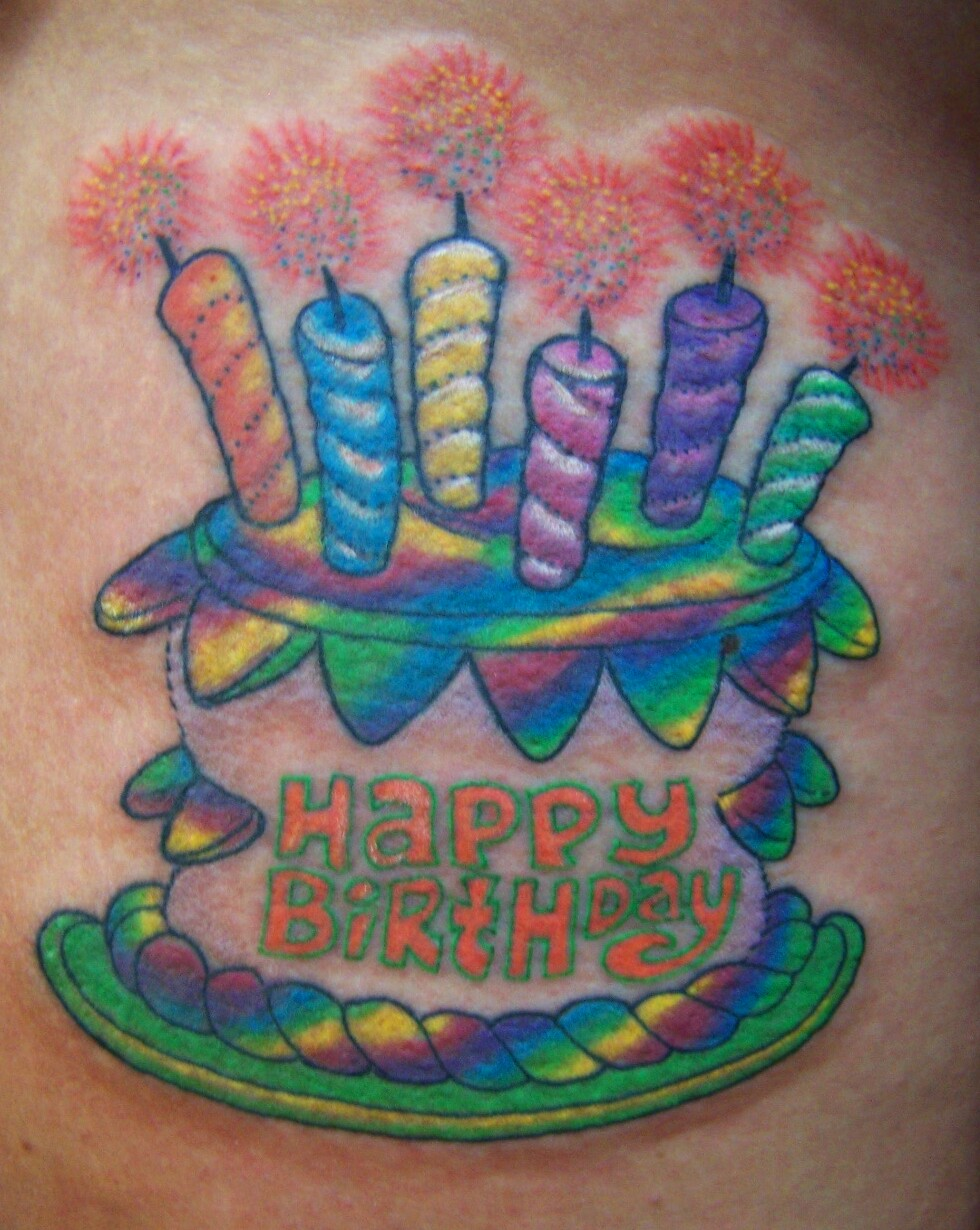 happy birthday tattoo images ; happy-birthday-cake-color-ink-tattoo