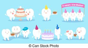 happy birthday teeth ; tooth-family-celebrate-birthday-cute-cartoon-tooth-family-celebrate-happy-birthday-drawing_csp46155390