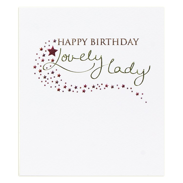 happy birthday to a wonderful lady ; paperlink-emm011-lovely-lady-card