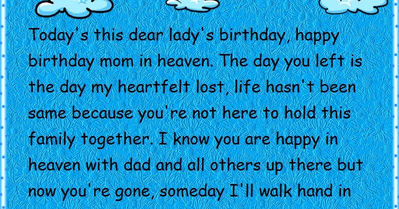 happy birthday to your mom in heaven ; mom-in-heaven-birthday-wishes