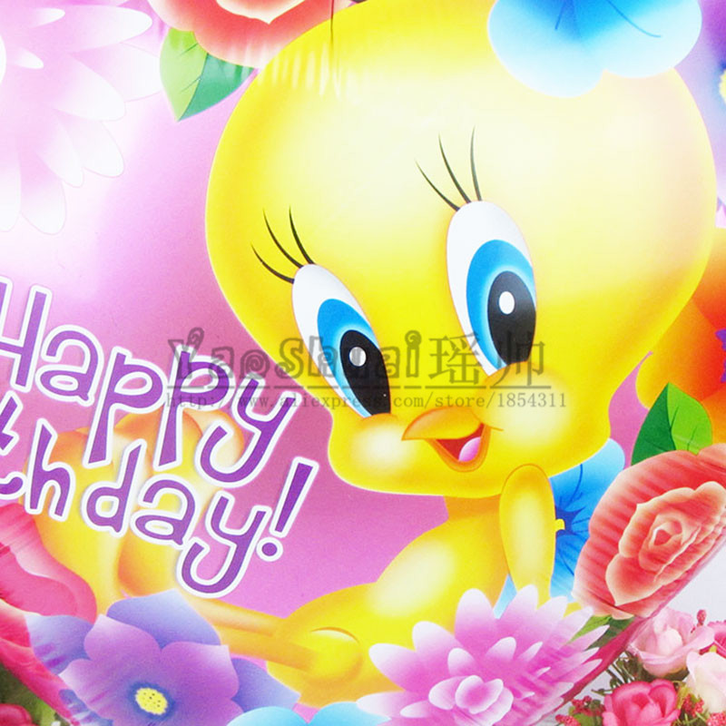 happy birthday tweety ; 50pcs-lot-18-inch-heart-balloon-Tweety-Bird-of-Cartoon-foil-balloons-happy-birthday-decoration