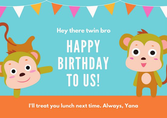 happy birthday twin brother card ; canva-blue-monkeys-and-banderitas-twin-brother-birthday-card-MACXs_dxvHw