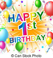 happy first birthday ; -clipart_csp20845116