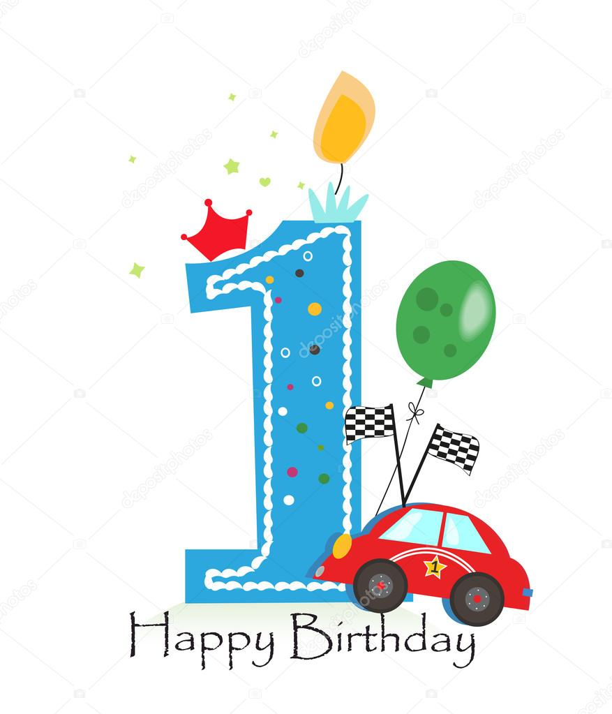 happy first birthday ; depositphotos_117403836-stock-illustration-happy-first-birthday-candle-baby