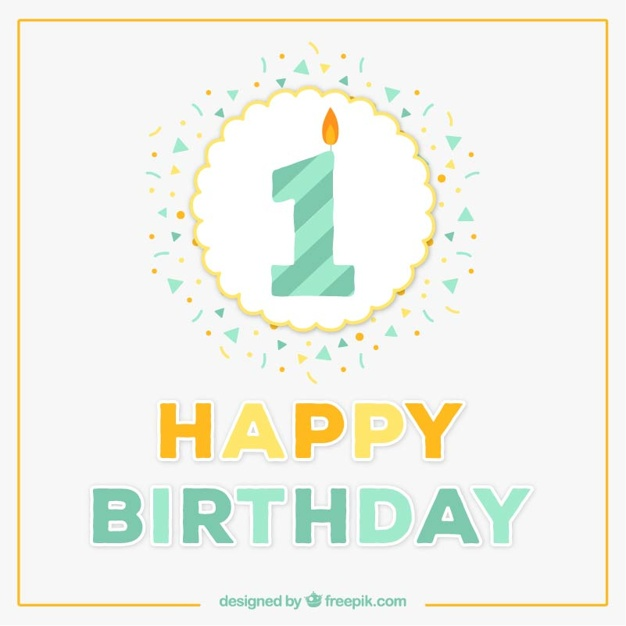 happy first birthday ; first-birthday-card_23-2147512368