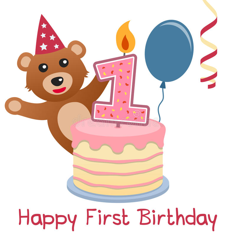 happy first birthday ; first-birthday-teddy-bear-happy-greeting-card-cute-cake-numbered-candle-blue-balloon-red-streamer-30649605