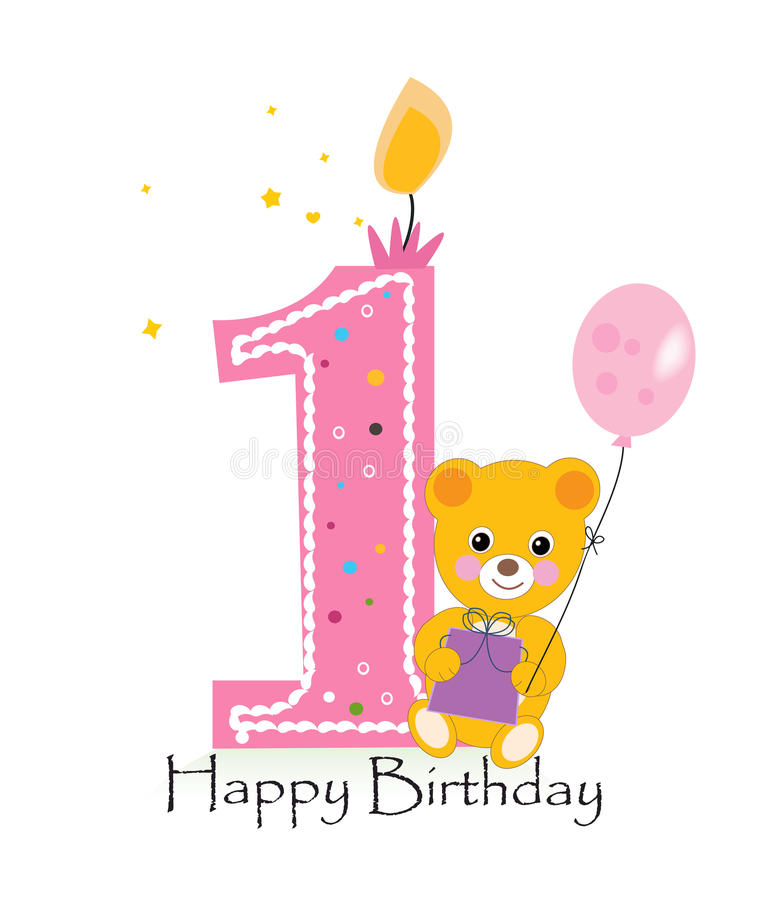 happy first birthday ; happy-first-birthday-candle-baby-birthday-greeting-card-teddy-bear-vector-background-69563446