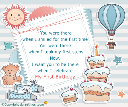 happy first birthday card sayings ; come-join-us