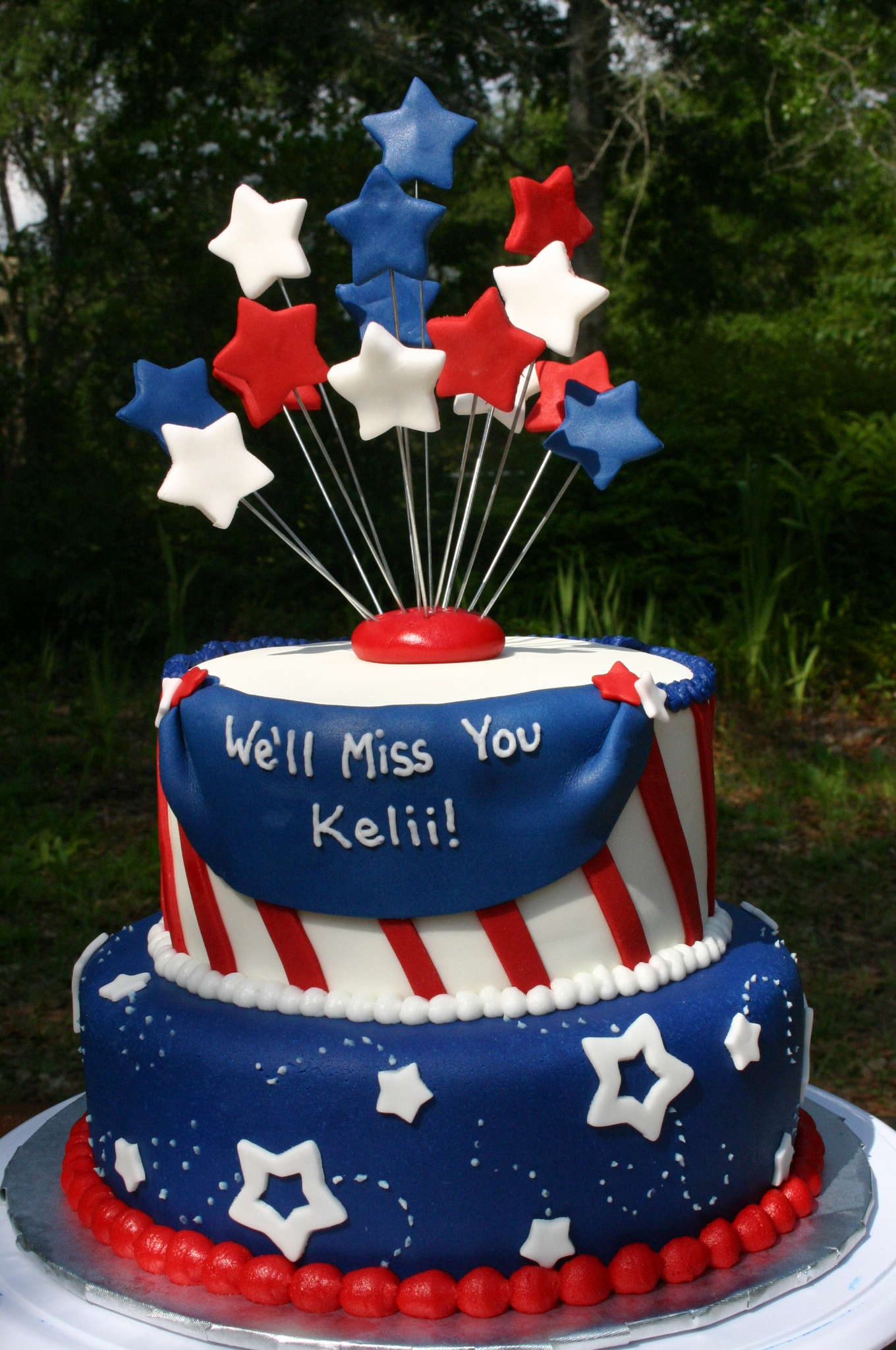 happy fourth of july birthday ; patriotic-going-away-cake