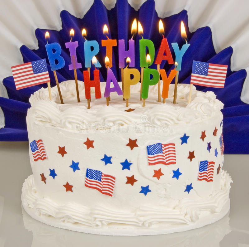 happy fourth of july birthday ; patriotic-th-july-birthday-cake-colorful-lit-candles-spelling-out-happy-47477090