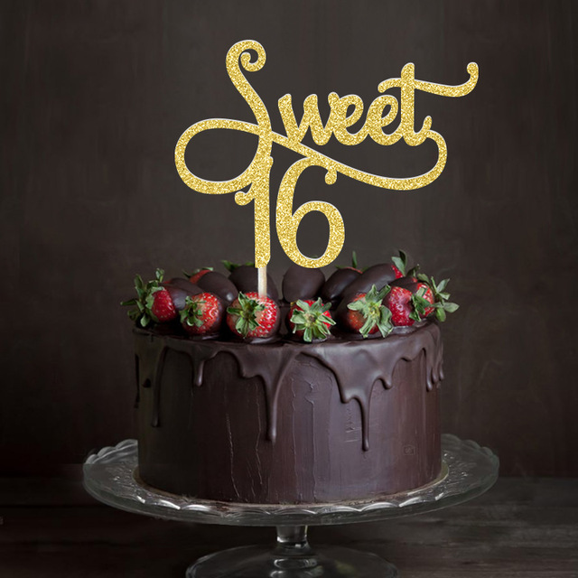 happy sweet 16 birthday cake ; Gold-Silver-Black-Glitter-Sweet-16-Cake-Topper-Girl-s-Sixteenth-Birthday-Party-Decorations-Happy-16th