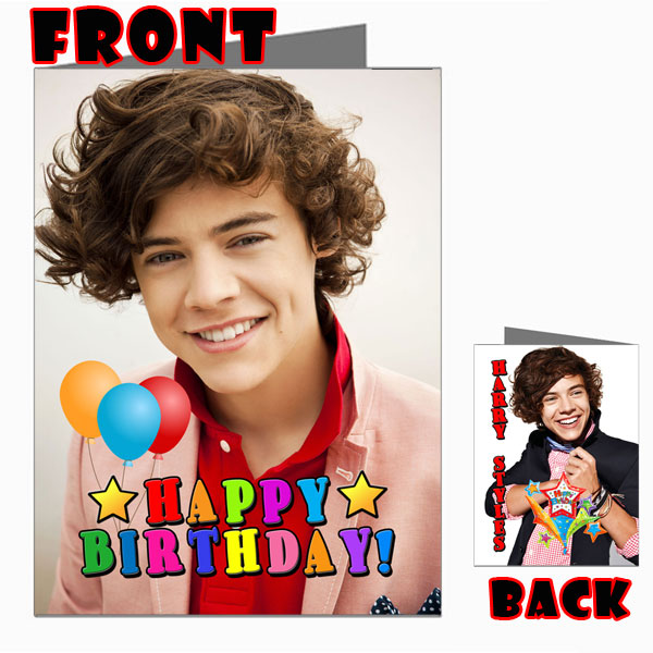 harry styles happy birthday card ; HARRY-STYLES-ONE-DIRECTION-1D-Front-Back-Happy-Birthday-Picture-Photo-Card-2