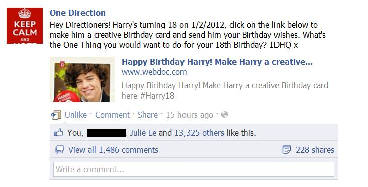 harry styles happy birthday card ; harry