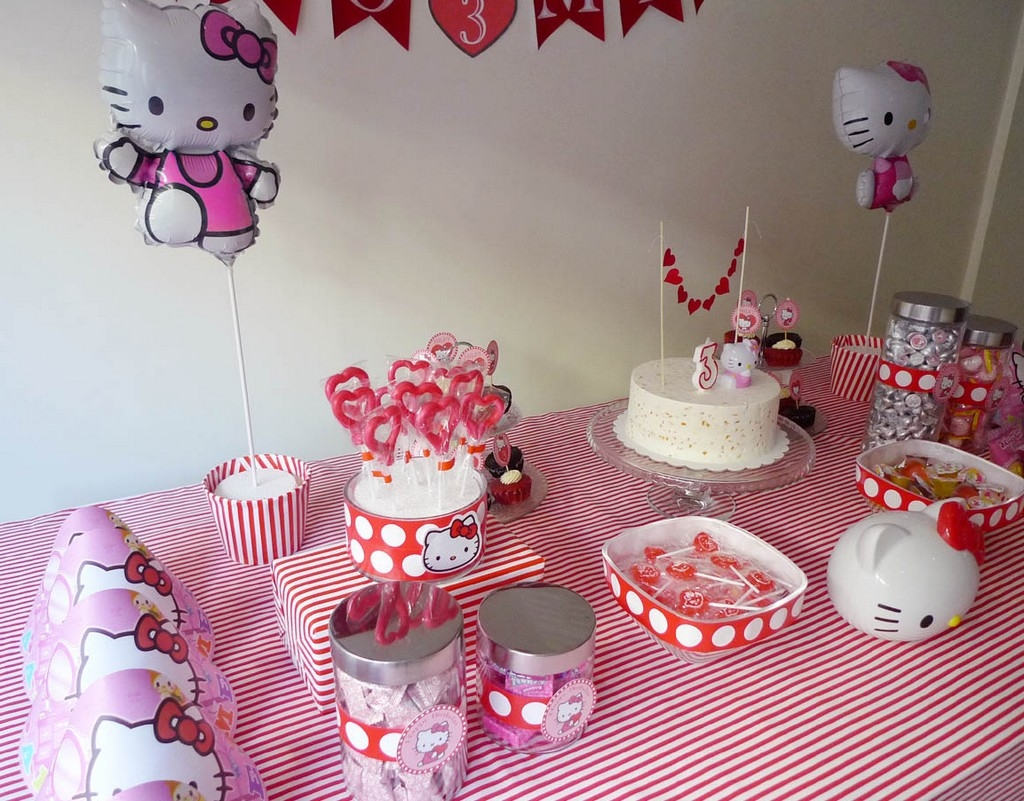 hello kitty design for birthday ; Hello-Kitty-Theme-With-Candy-Table-Design-For-Kids-Birthday-Party